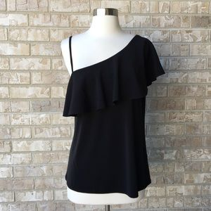 NWT Banana Republic One Shoulder Black Top S
